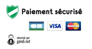 Logos des moyens de paiement sécurisés et de Gandi.net pour le certificat SSL