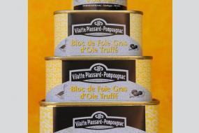 Photo représentant la gamme de bloc de foie gras d'oie truffé