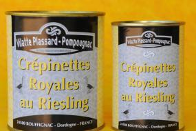 Photo représentant les boîtes de crepinettes royales au riesling