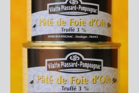 Photo représentant les 2 formats de boîtes de conserve de paté d'oie truffé
