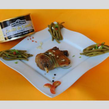 Photo représentant une assiette d'un confit de canard