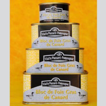 Photo repérsentant la gamme de boîtes de bloc de foie gras de canard