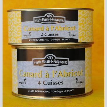 Photo représentant les 2 formats de boîtes de conserve de canard à l'abricot