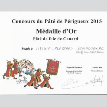 Photo représentant le diplôme du concours du Pâté de foie gras de canard