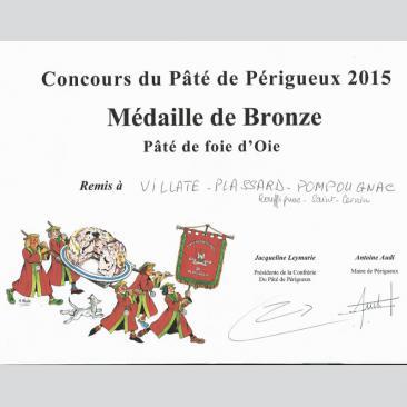 Photo représentant le diplôme du concours du Pâté de foie gras d'oie