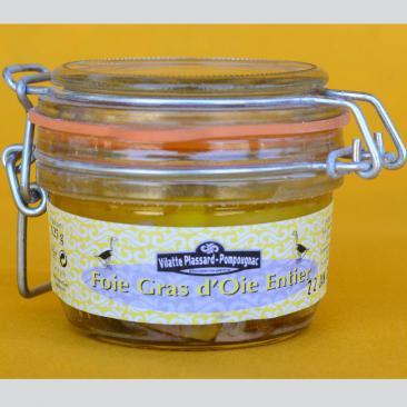 Photo représentant un bocal de foie gras entier d'oie 125g