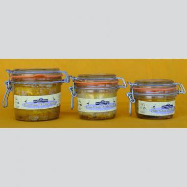 Photo représentant la gamme de foie gras entier d'oie