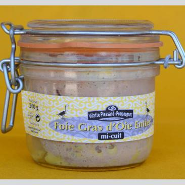 Photo représentant un bocal de foie gras d'oie mi-cuit